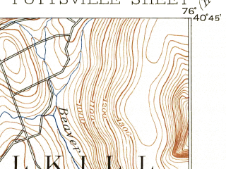 Reduced fragment of topographic map en--usgs--063k--061249--(1891)--N040-45_W076-15--N040-30_W076-00; towns and cities Pottsville, Schuylkill Haven, Lake Wynonah, Landingville, St. Clair