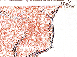 Reduced fragment of topographic map en--usgs--063k--061252--(1912)--N037-15_W081-45--N037-00_W081-30; towns and cities Tazewell