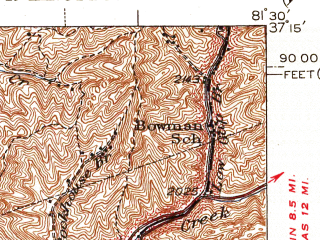 Reduced fragment of topographic map en--usgs--063k--061252--(1947)--N037-15_W081-45--N037-00_W081-30; towns and cities Tazewell