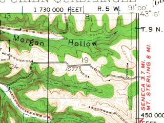 Reduced fragment of topographic map en--usgs--063k--061271--(1929)--N043-15_W091-15--N043-00_W091-00; towns and cities Prairie Du Chien, Eastman, Harpers Ferry, Lynxville