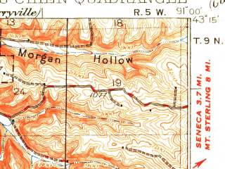 Reduced fragment of topographic map en--usgs--063k--061271--(1932)--N043-15_W091-15--N043-00_W091-00; towns and cities Prairie Du Chien, Harpers Ferry, Lynxville, Marquette