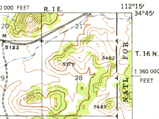 Reduced fragment of topographic map en--usgs--063k--061280--(1948)--N034-45_W112-30--N034-30_W112-15; towns and cities Prescott, Prescott Valley
