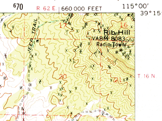 Reduced fragment of topographic map en--usgs--063k--061289--(1959)--N039-15_W115-15--N039-00_W115-00
