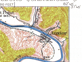 Reduced fragment of topographic map en--usgs--063k--061290--(1915)--N037-45_W083-00--N037-30_W082-45; towns and cities Martin, Prestonsburg