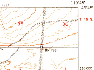 Reduced fragment of topographic map en--usgs--063k--061307--(1951)--N046-45_W120-00--N046-30_W119-45 in area of Columbia; towns and cities Mattawa