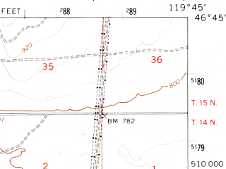 Reduced fragment of topographic map en--usgs--063k--061307--(1965)--N046-45_W120-00--N046-30_W119-45 in area of Columbia; towns and cities Mattawa