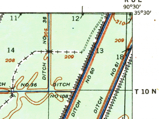 Reduced fragment of topographic map en--usgs--063k--061317--(1940)--N035-30_W090-45--N035-15_W090-30; towns and cities Parkin
