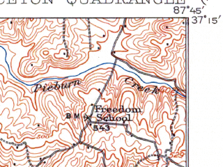 Reduced fragment of topographic map en--usgs--063k--061321--(1908)--N037-15_W088-00--N037-00_W087-45; towns and cities Princeton