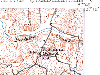 Reduced fragment of topographic map en--usgs--063k--061321--(1910)--N037-15_W088-00--N037-00_W087-45; towns and cities Princeton