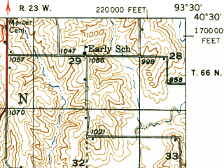 Reduced fragment of topographic map en--usgs--063k--061323--(1948)--N040-30_W093-45--N040-15_W093-30; towns and cities Princeton