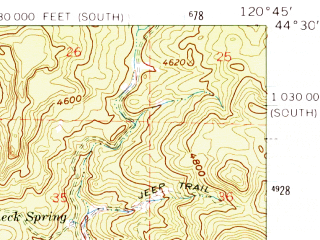 Reduced fragment of topographic map en--usgs--063k--061324--(1962)--N044-30_W121-00--N044-15_W120-45; towns and cities Prineville