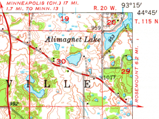 Reduced fragment of topographic map en--usgs--063k--061326--(1957)--N044-45_W093-30--N044-30_W093-15 in area of Upper Prior Lake; towns and cities Prior Lake, Elko, New Market