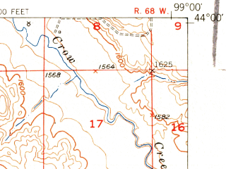 Reduced fragment of topographic map en--usgs--063k--061353--(1951)--N044-00_W099-15--N043-45_W099-00; towns and cities Pukwana