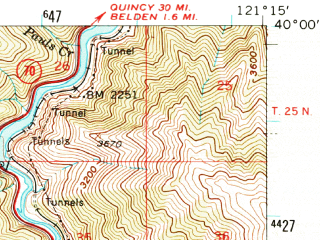 Reduced fragment of topographic map en--usgs--063k--061357--(1957)--N040-00_W121-30--N039-45_W121-15