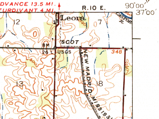Reduced fragment of topographic map en--usgs--063k--061370--(1939)--N037-00_W090-15--N036-45_W090-00; towns and cities Dudley, Fisk, Puxico