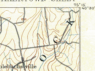 Reduced fragment of topographic map en--usgs--063k--061375--(1890)--N040-30_W075-30--N040-15_W075-15; towns and cities Perkasie, Quakertown, Souderton, Trumbauersville, Red Hill