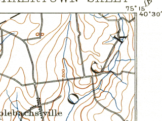 Reduced fragment of topographic map en--usgs--063k--061375--(1894)--N040-30_W075-30--N040-15_W075-15; towns and cities Souderton, Harleysville, Perkasie, Green Lane, Spring Mount