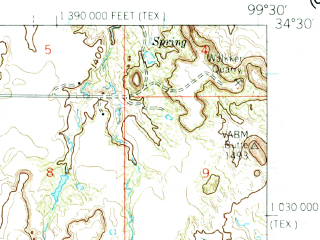 Reduced fragment of topographic map en--usgs--063k--061376--(1960)--N034-30_W099-45--N034-15_W099-30; towns and cities Chillicothe, Eldorado, Quanah
