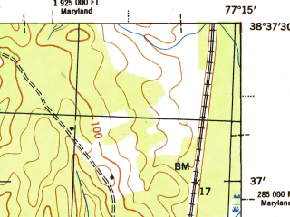 Reduced fragment of topographic map en--usgs--063k--061377--(1944)--N038-45_W077-30--N038-30_W077-15 in area of Occoquan Reservoir; towns and cities Woodbridge, Dale City, Lake Ridge, Montclair, Quantico