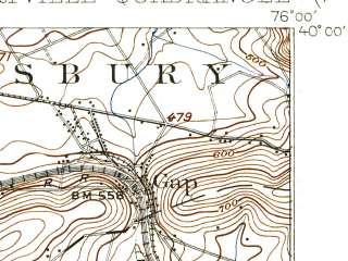 Reduced fragment of topographic map en--usgs--063k--061378--(1912)--N040-00_W076-15--N039-45_W076-00; towns and cities Gap, Quarryville, Strasburg