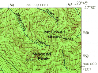 Reduced fragment of topographic map en--usgs--063k--061394--(1955)--N047-30_W124-00--N047-15_W123-45 in area of Quinault Lake