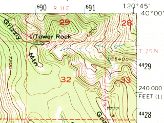Reduced fragment of topographic map en--usgs--063k--061397--(1951)--N040-00_W121-00--N039-45_W120-45; towns and cities Quincy-east Quincy