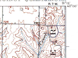 Reduced fragment of topographic map en--usgs--063k--061398--(1925)--N040-00_W091-30--N039-45_W091-15; towns and cities Quincy