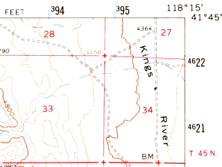 Reduced fragment of topographic map en--usgs--063k--061400--(1961)--N041-45_W118-30--N041-30_W118-15