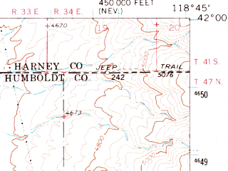 Reduced fragment of topographic map en--usgs--063k--061423--(1965)--N042-00_W119-00--N041-45_W118-45