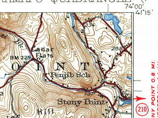 Reduced fragment of topographic map en--usgs--063k--061429--(1938)--N041-15_W074-15--N041-00_W074-00; towns and cities Spring Valley, Ramsey, Nanuet, Oakland, Allendale