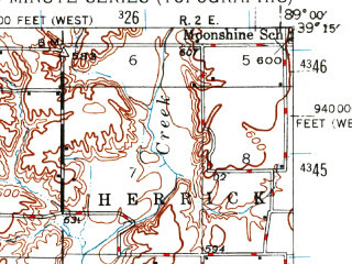 Reduced fragment of topographic map en--usgs--063k--061433--(1944)--N039-15_W089-15--N039-00_W089-00 in area of Vandalia Lake; towns and cities Bingham, Ramsey