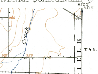 Reduced fragment of topographic map en--usgs--063k--061475--(1908)--N041-15_W081-15--N041-00_W081-00 in area of Kirwin Reservoir; towns and cities Ravenna, Windham
