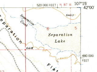 Reduced fragment of topographic map en--usgs--063k--061477--(1956)--N042-00_W107-30--N041-45_W107-15