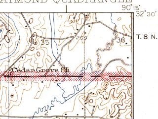 Reduced fragment of topographic map en--usgs--063k--061483--(1942)--N032-30_W090-30--N032-15_W090-15; towns and cities Clinton, Raymond, Bolton