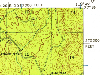 Reduced fragment of topographic map en--usgs--063k--061484--(1942)--N037-15_W120-00--N037-00_W119-45; towns and cities Yosemite Lakes