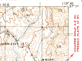 Reduced fragment of topographic map en--usgs--063k--061484--(1944)--N037-15_W120-00--N037-00_W119-45; towns and cities Yosemite Lakes