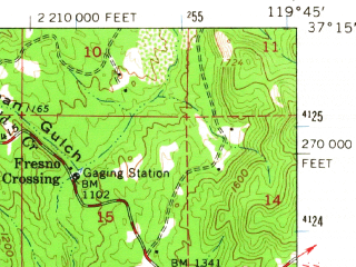 Reduced fragment of topographic map en--usgs--063k--061484--(1962)--N037-15_W120-00--N037-00_W119-45; towns and cities Yosemite Lakes