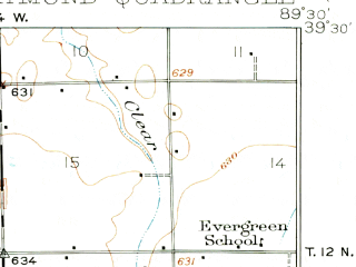 Reduced fragment of topographic map en--usgs--063k--061485--(1923)--N039-30_W089-45--N039-15_W089-30; towns and cities Farmersville, Harvel, Raymond