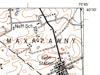 Reduced fragment of topographic map en--usgs--063k--061489--(1944)--N040-30_W076-00--N040-15_W075-45 in area of Ontelaunee Lake; towns and cities Reading, Shillington, Wyomissing, Fleetwood, Flying Hills