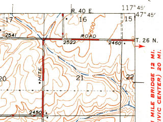 Reduced fragment of topographic map en--usgs--063k--061492--(1945)--N047-45_W118-00--N047-30_W117-45; towns and cities Reardan