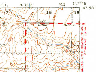 Reduced fragment of topographic map en--usgs--063k--061492--(1953)--N047-45_W118-00--N047-30_W117-45; towns and cities Reardan