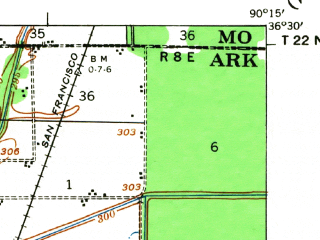 Reduced fragment of topographic map en--usgs--063k--061493--(1935)--N036-30_W090-30--N036-15_W090-15; towns and cities Mcdougal, Pollard, Rector