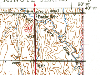 Reduced fragment of topographic map en--usgs--063k--061499--(1942)--N040-15_W098-45--N040-00_W098-30; towns and cities Red Cloud