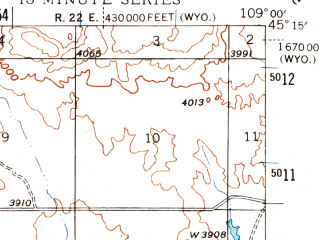 Reduced fragment of topographic map en--usgs--063k--061507--(1944)--N045-15_W109-15--N045-00_W109-00; towns and cities Bearcreek, Red Lodge