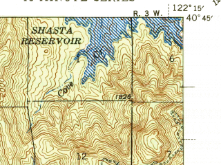 Reduced fragment of topographic map en--usgs--063k--061519--(1946)--N040-45_W122-30--N040-30_W122-15; towns and cities Redding, Central Valley