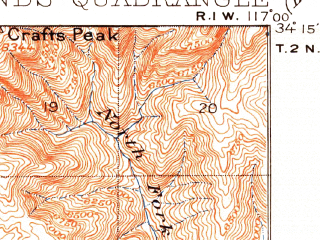 Reduced fragment of topographic map en--usgs--063k--061527--(1899)--N034-15_W117-15--N034-00_W117-00; towns and cities Redlands, Yucaipa, Highland, Loma Linda, Mentone