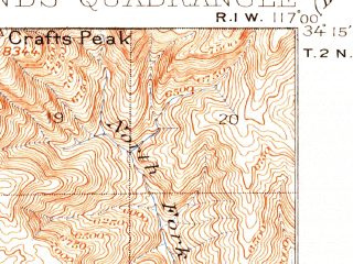 Reduced fragment of topographic map en--usgs--063k--061527--(1901)--N034-15_W117-15--N034-00_W117-00; towns and cities Redlands, Highland, Yucaipa, Loma Linda, Mentone