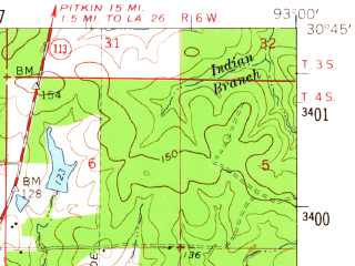 Reduced fragment of topographic map en--usgs--063k--061539--(1961)--N030-45_W093-15--N030-30_W093-00; towns and cities Reeves