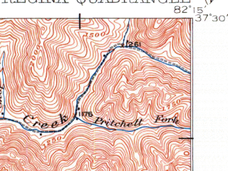 Reduced fragment of topographic map en--usgs--063k--061544--(1915)--N037-30_W082-30--N037-15_W082-15 in area of Fishtrap Lake; towns and cities Cedarville, Elkhorn City