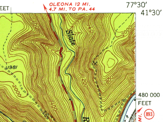 Reduced fragment of topographic map en--usgs--063k--061554--(1946)--N041-30_W077-45--N041-15_W077-30; towns and cities Renovo, South Renovo